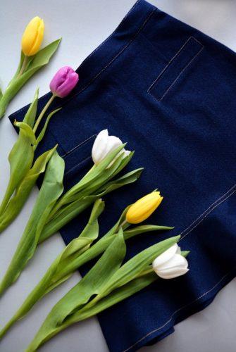 Юбка джинсовая короткая с воланом