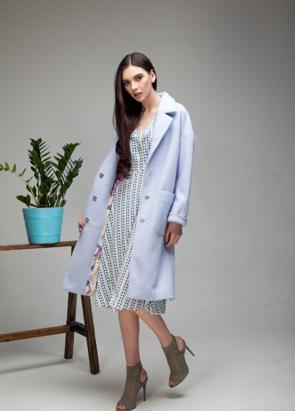 Пальто-халат со съемным поясом лавандового цвета