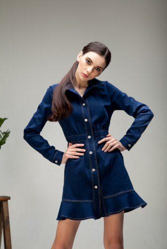 Платье джинсовое с воланом
