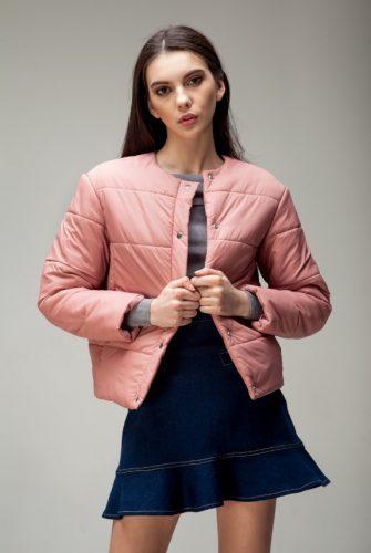 Куртка стеганая короткая арбузного цвета