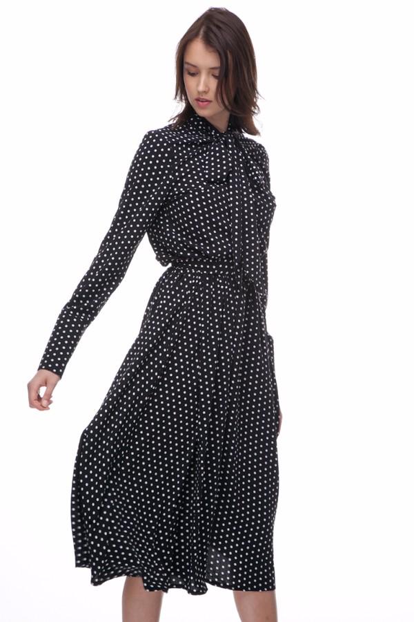 Платье миди с бантом черного цвета в белый горох