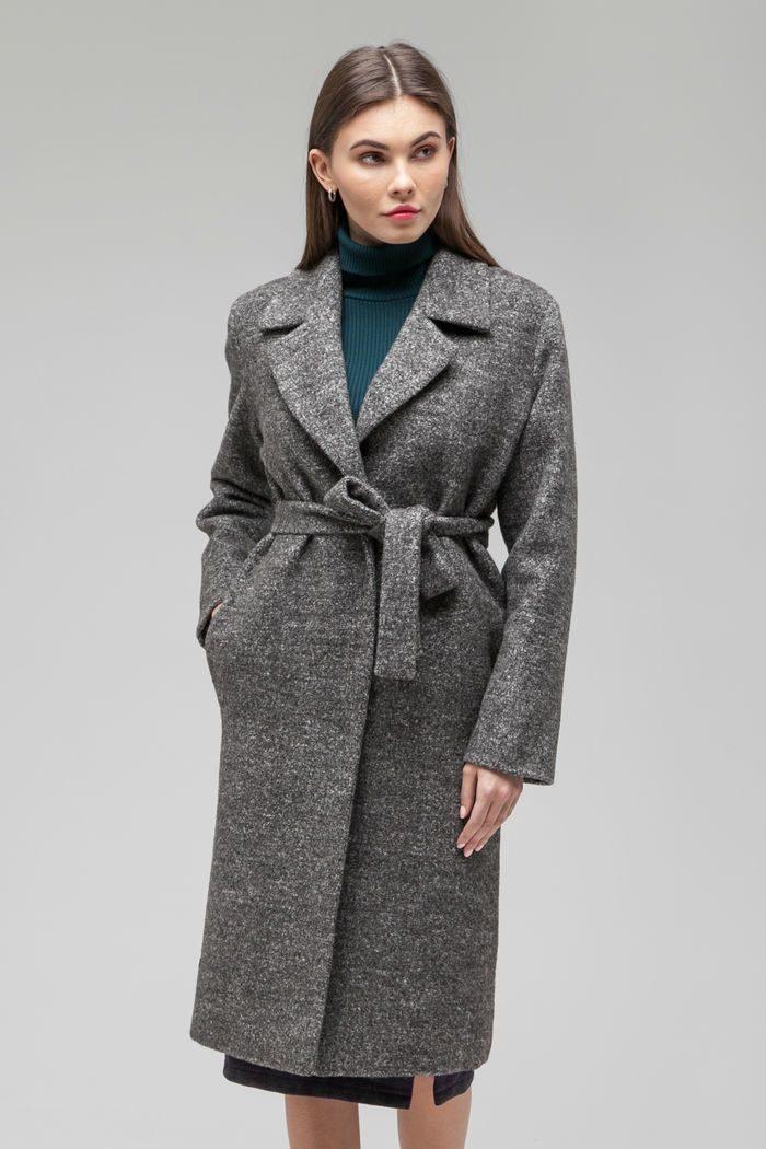 Пальто шерстяное classic серый меланж - THE LACE