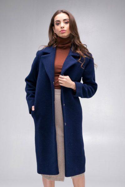 Пальто шерстяное classic синее - THE LACE