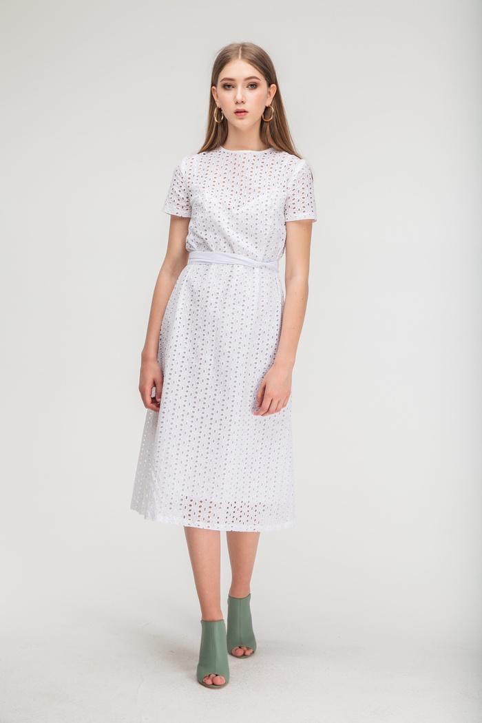 Летнее платье ровного кроя из хлопка белое - THE LACE