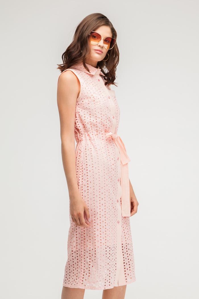 Платье-рубашка из хлопка розовое - THE LACE