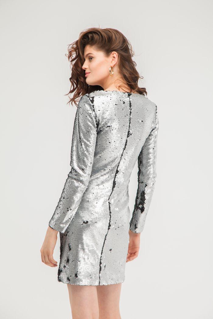 Платье из пайеток серебряное - THE LACE