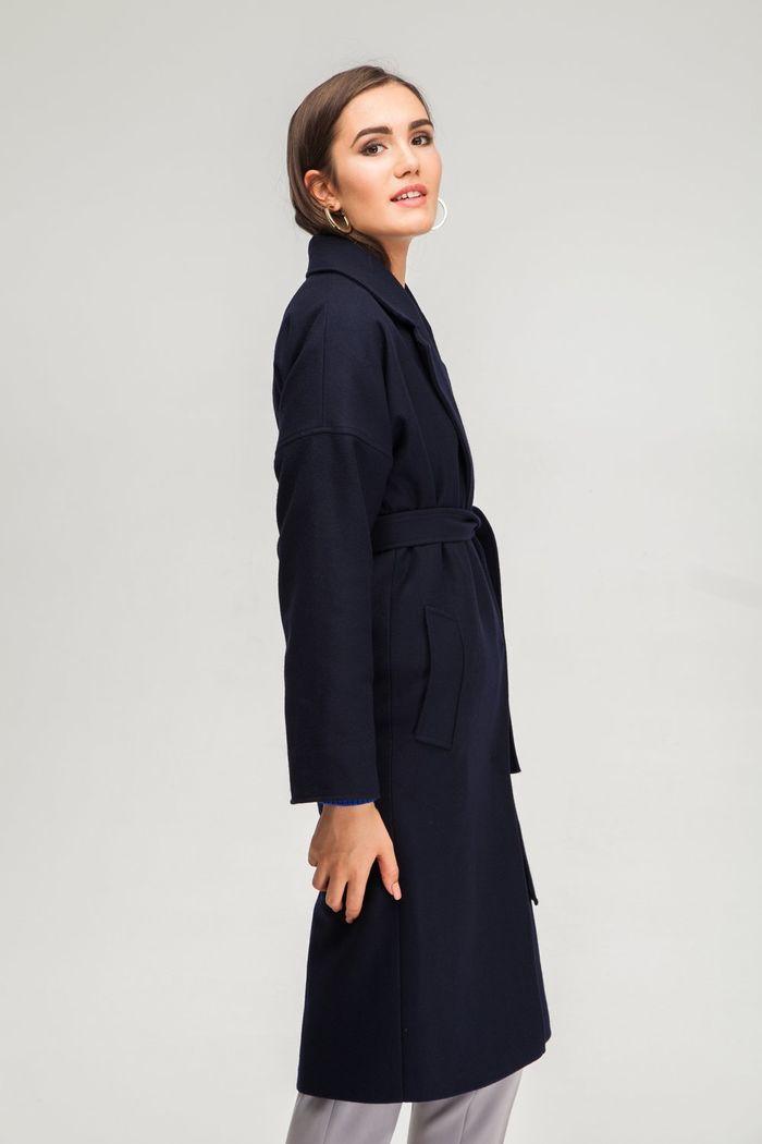 Пальто шерстяное темно-синее - THE LACE