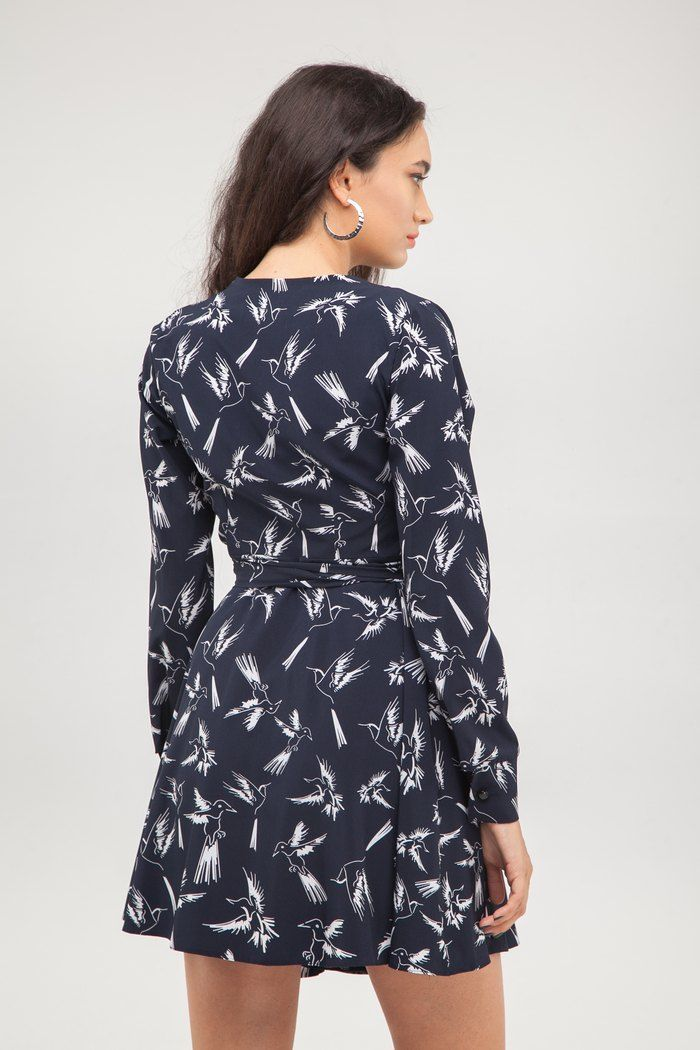 Платье мини на запах Flying birds - THE LACE