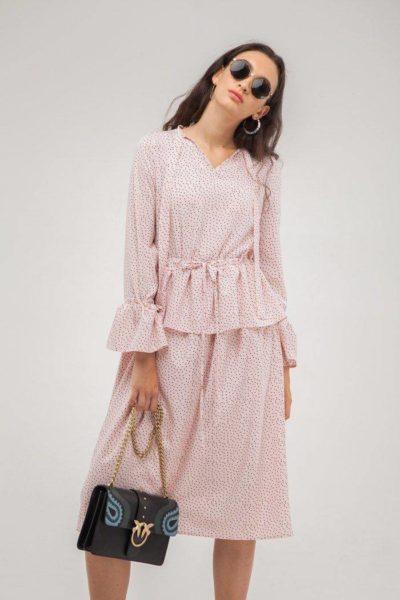 Платье с баской в горох розовое - THE LACE