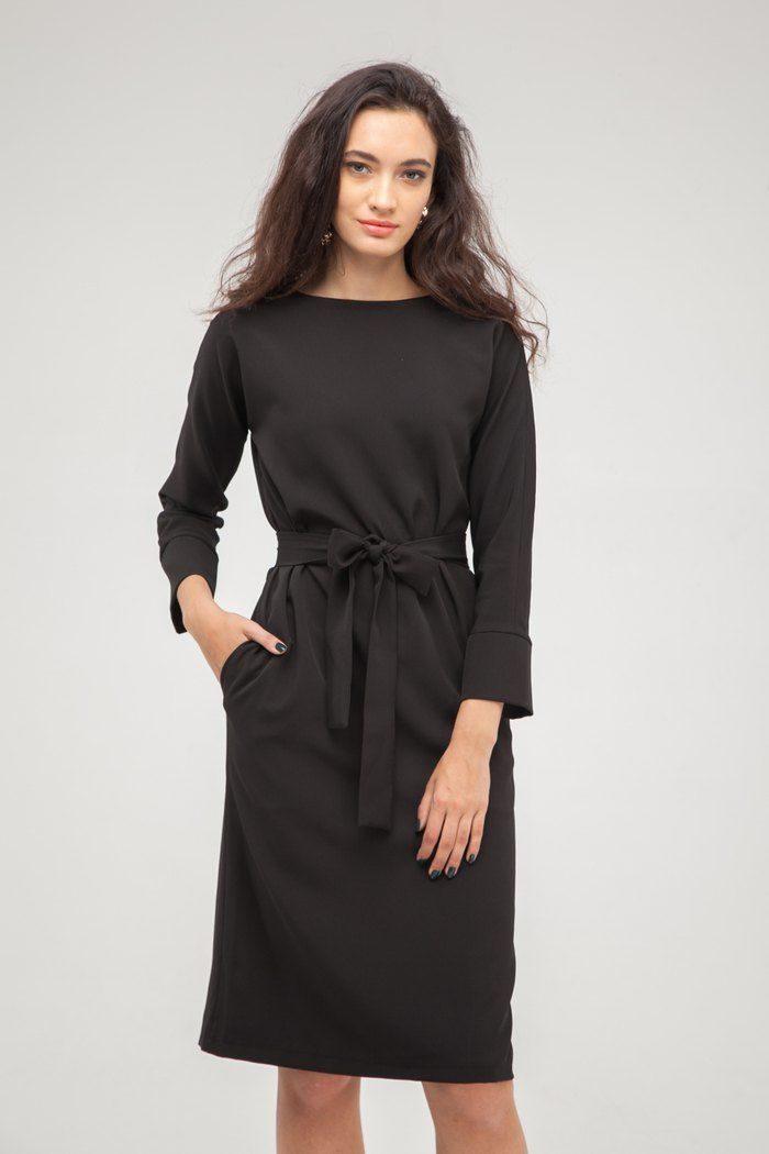 Платье на пуговицах по спине черное - THE LACE