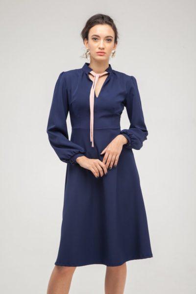 Платье с бантом синее - THE LACE
