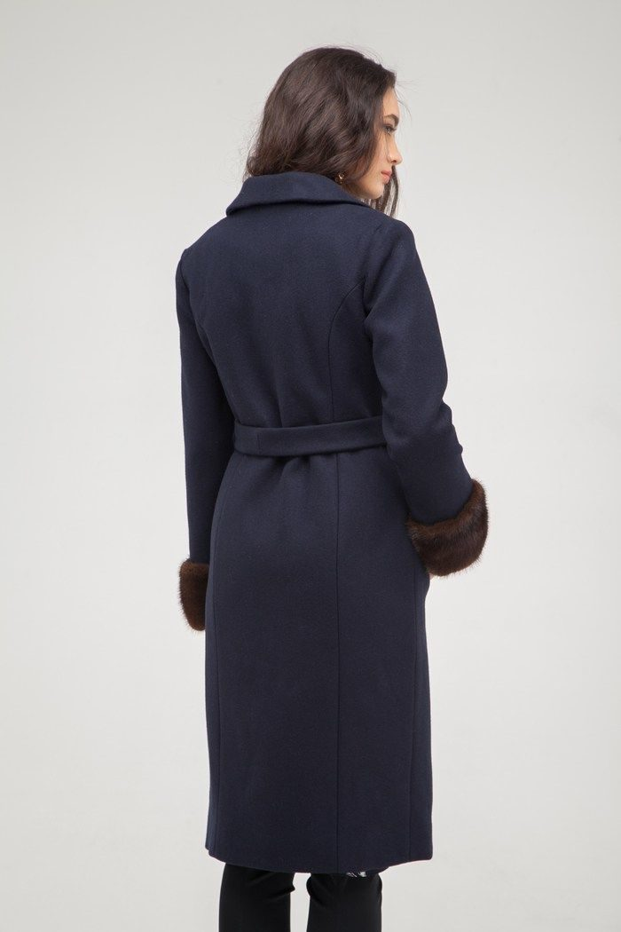 Пальто с манжетами из норки синее - THE LACE