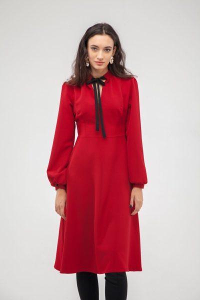 Платье с бантом красное - THE LACE