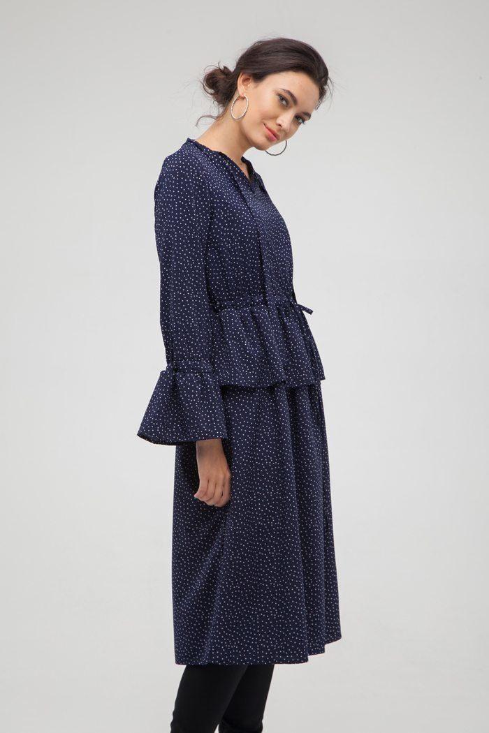 Платье с баской в горох синее - THE LACE