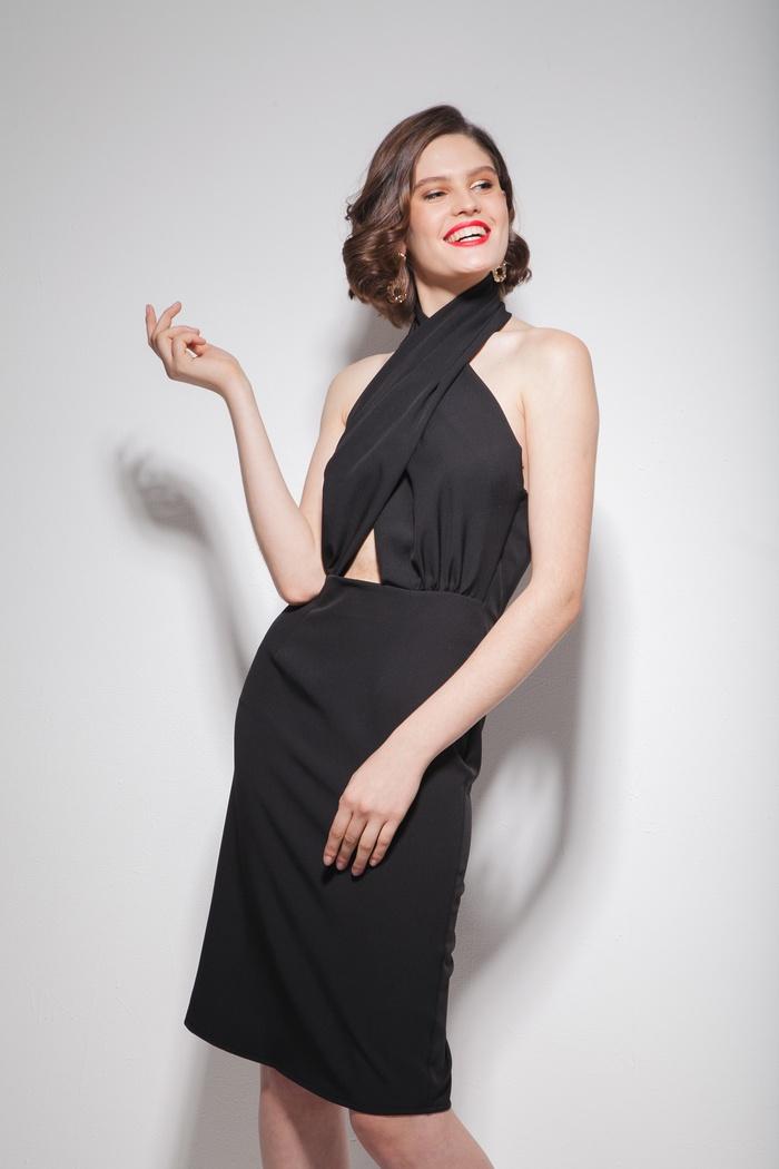 Платье с завязкой на шее черное - THE LACE