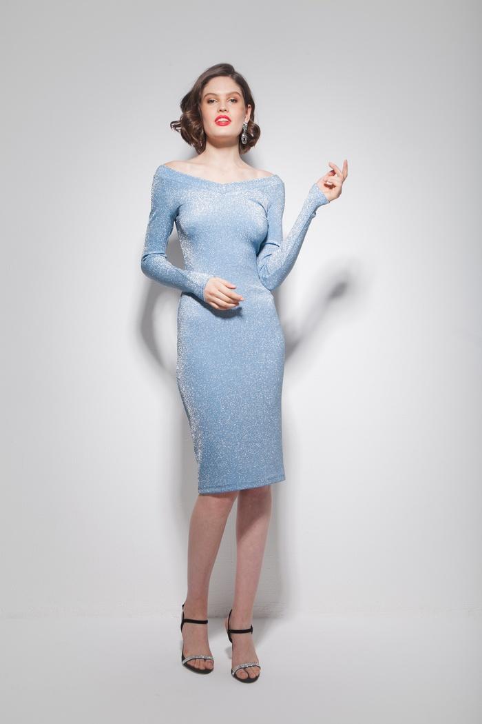 Платье со спущенными плечами с люрексом - THE LACE
