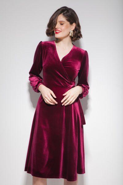 Платье из бархата на запах миди винное - THE LACE