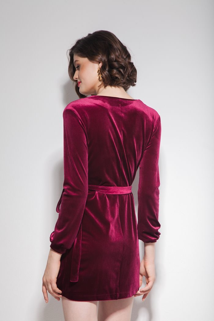 Платье из бархата на запах мини винное - THE LACE