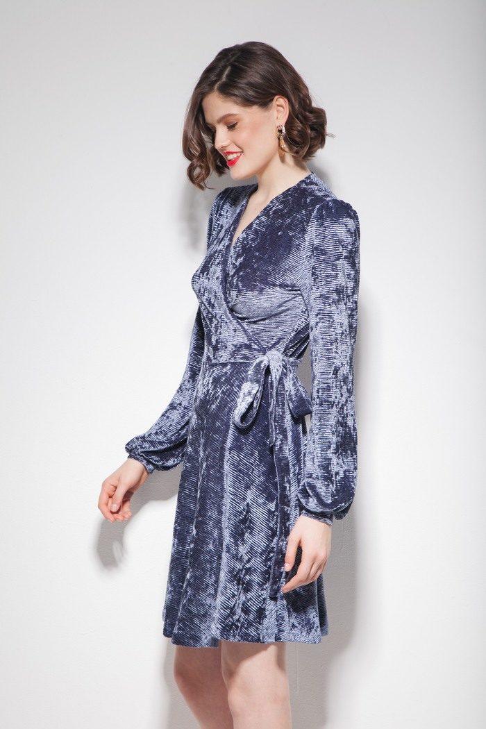 Платье из бархата на запах серое - THE LACE