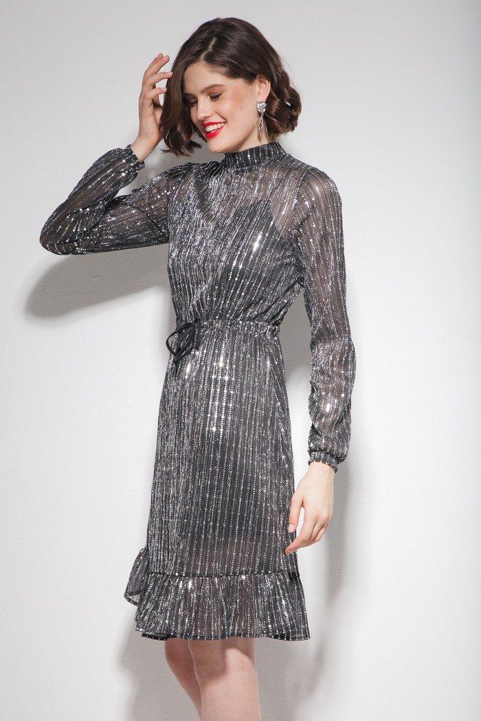 Платье с воланами серебряное - THE LACE