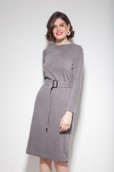 Платье из ангоры с поясом серое - THE LACE