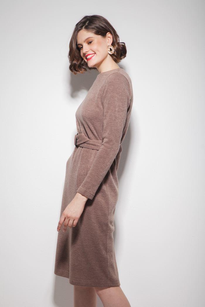 Платье из ангоры с поясом капучино - THE LACE