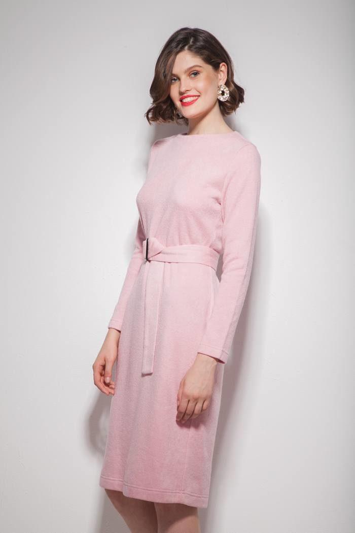 Платье из ангоры с поясом розовое - THE LACE