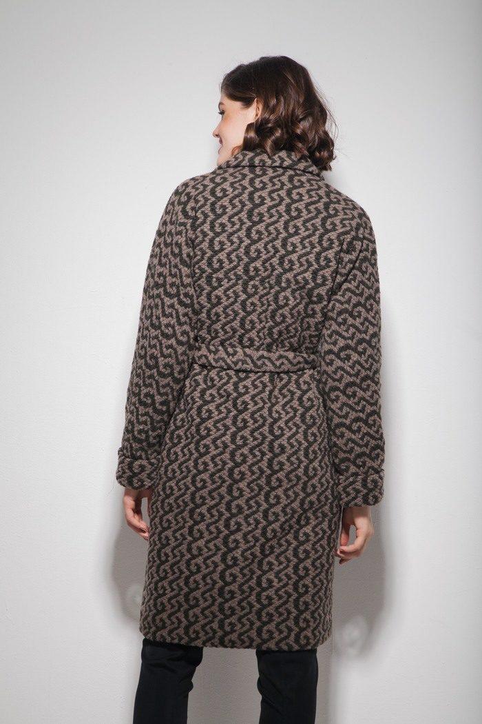 Пальто oversize с узором хаки - THE LACE