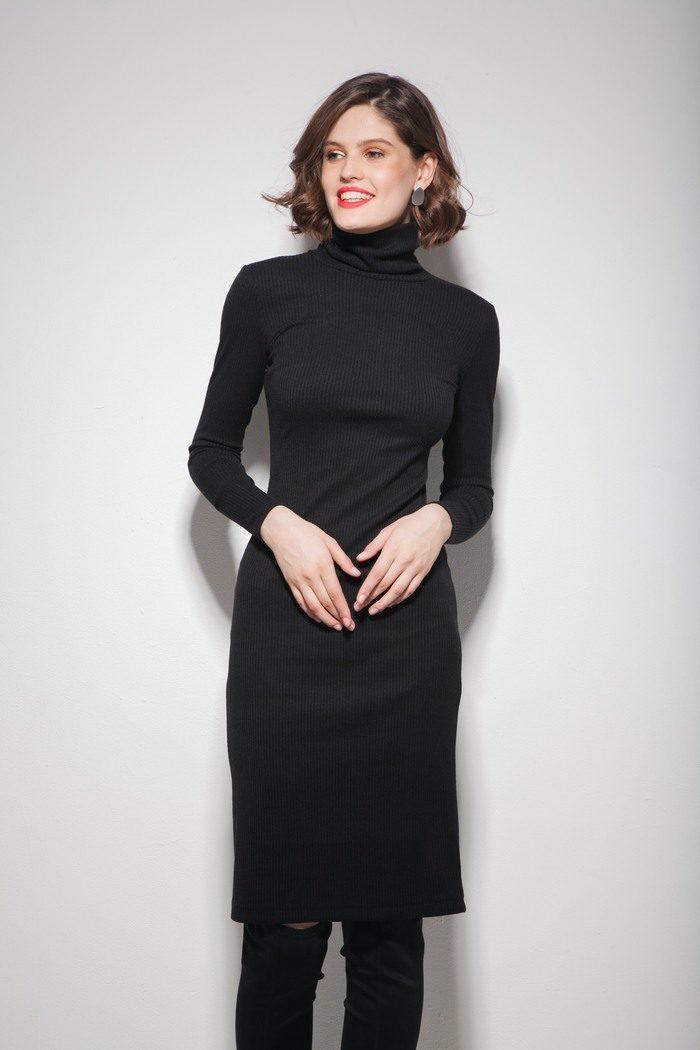 Платье под горло черное - THE LACE