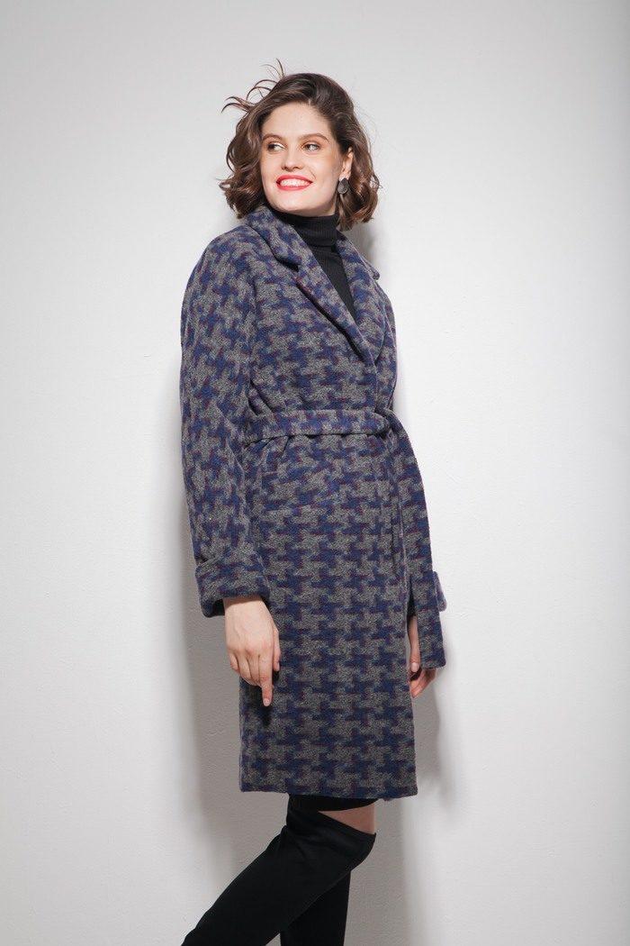 Пальто oversize с орнаментом серое - THE LACE