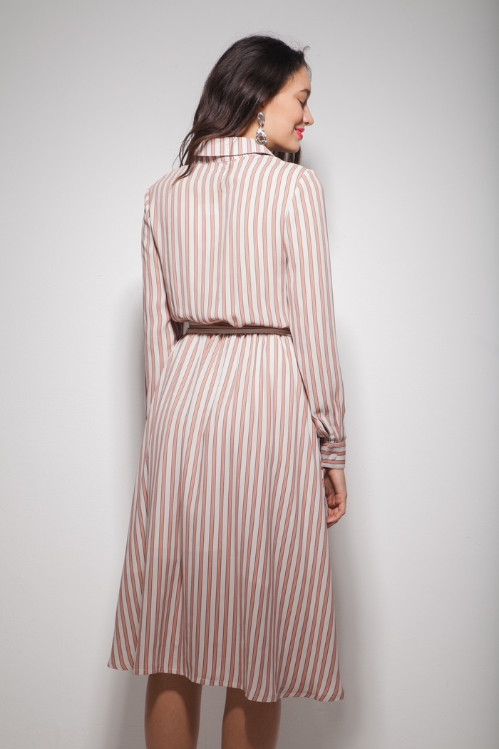 Платье миди с пышной юбкой в розовую полоску - THE LACE