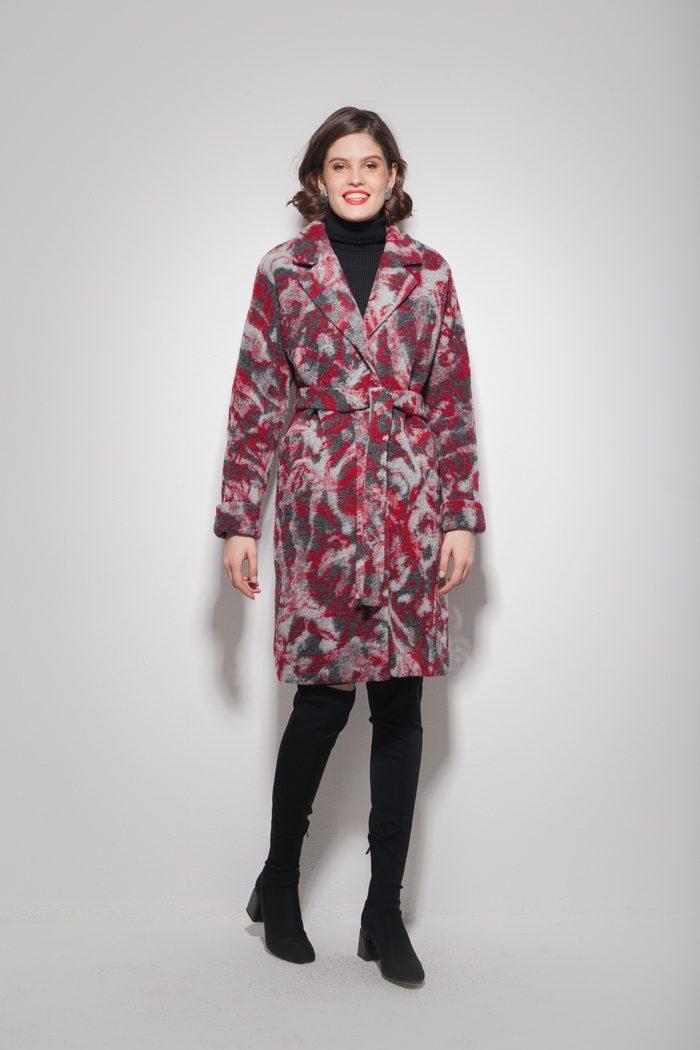 Пальто oversize с узором красное - THE LACE