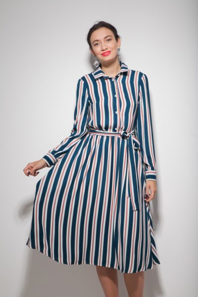 Платье миди с пышной юбкой в синюю полоску - THE LACE