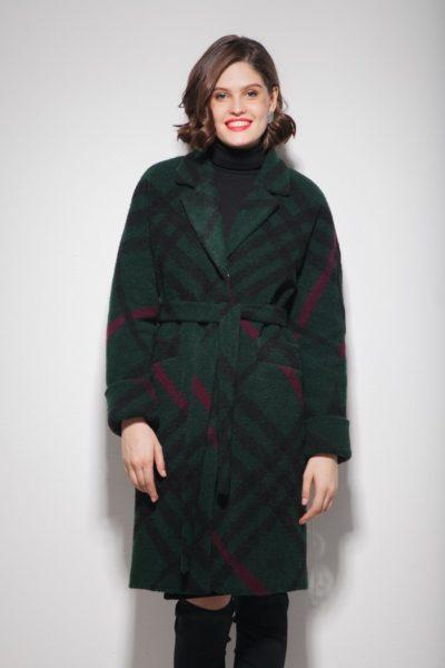 Пальто oversize с узором изумрудное - THE LACE