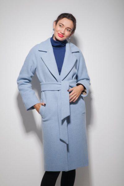 Пальто с рукавом реглан голубое - THE LACE