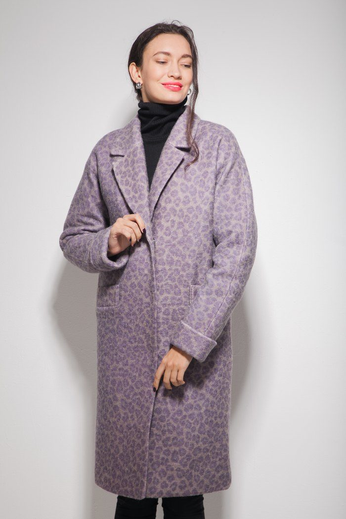 Пальто шерстяное с леопардовой расцветкой - THE LACE