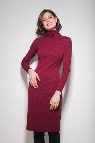 Платье под горло винное - THE LACE