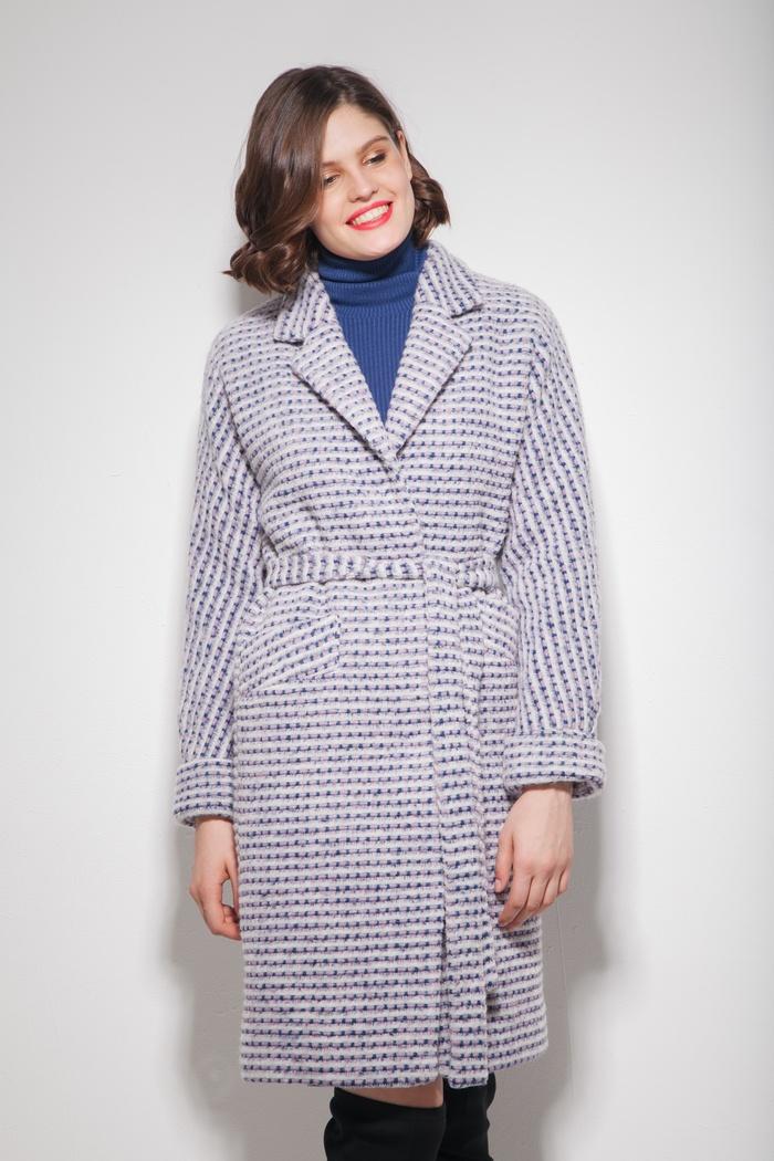 Пальто oversize с узором лиловое - THE LACE