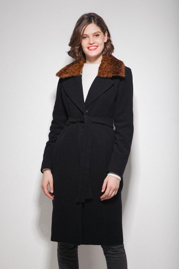 Пальто шерстяное с леопардовым воротником черное - THE LACE