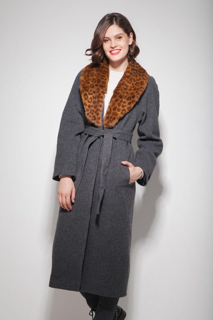Пальто шерстяное с леопардовым воротником серое - THE LACE