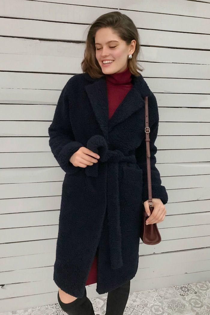 Пальто из объемной шерсти синее - THE LACE