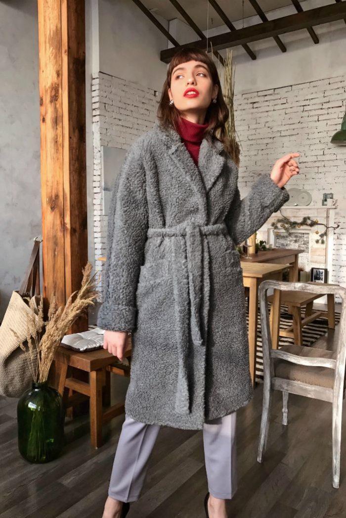 Пальто из объёмной шерсти серое - THE LACE