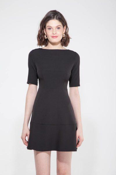 Платье мини с коротким рукавом черный - THE LACE
