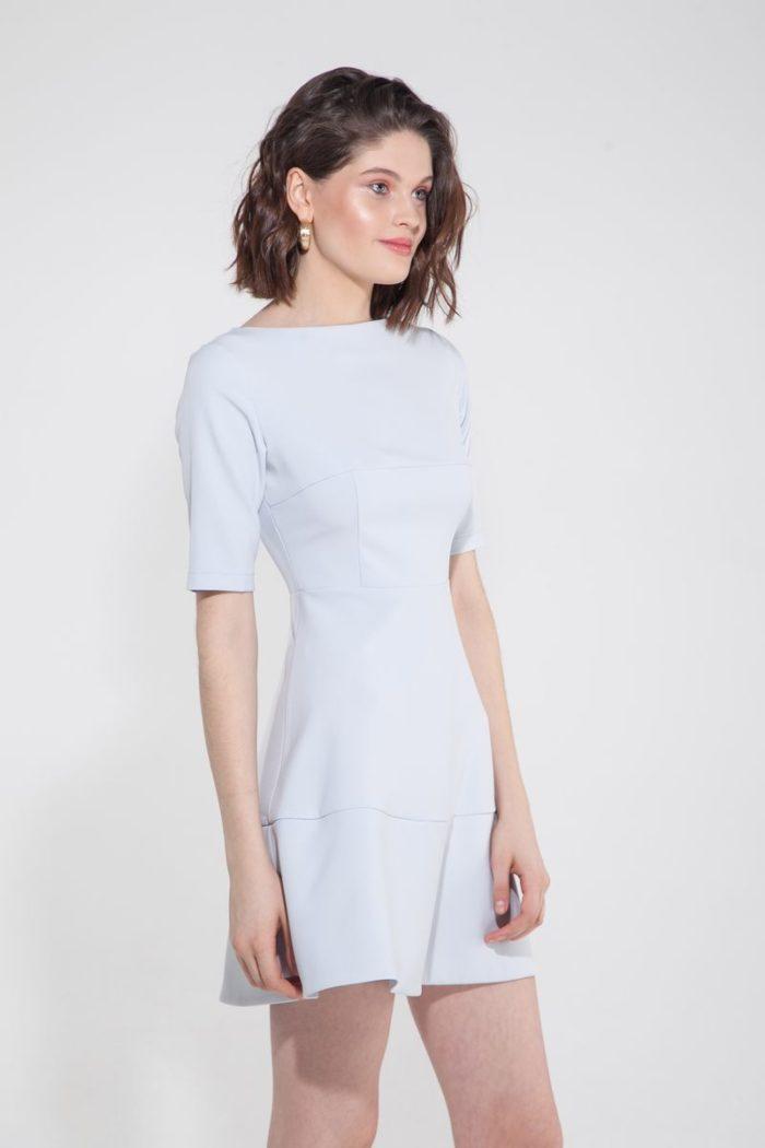 Платье мини с коротким рукавом жемчужное - THE LACE