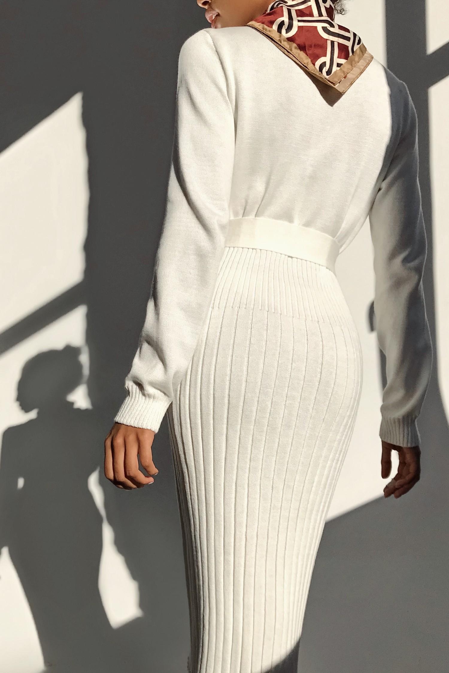 Платье трикотажное молочное - THE LACE