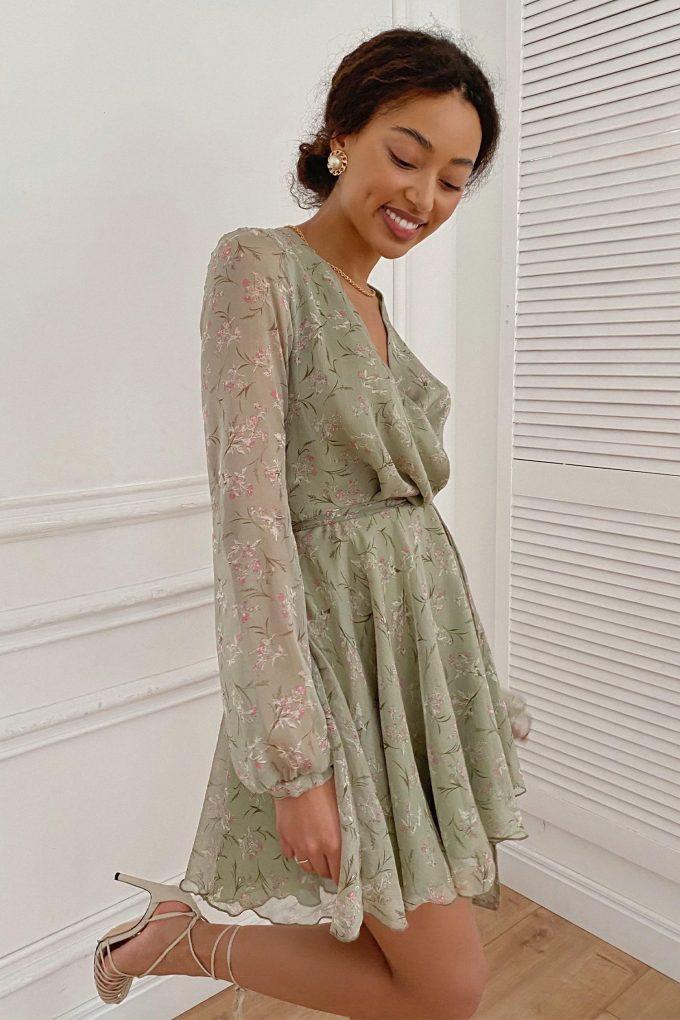 Платье мини зеленое Summer bloom - THE LACE