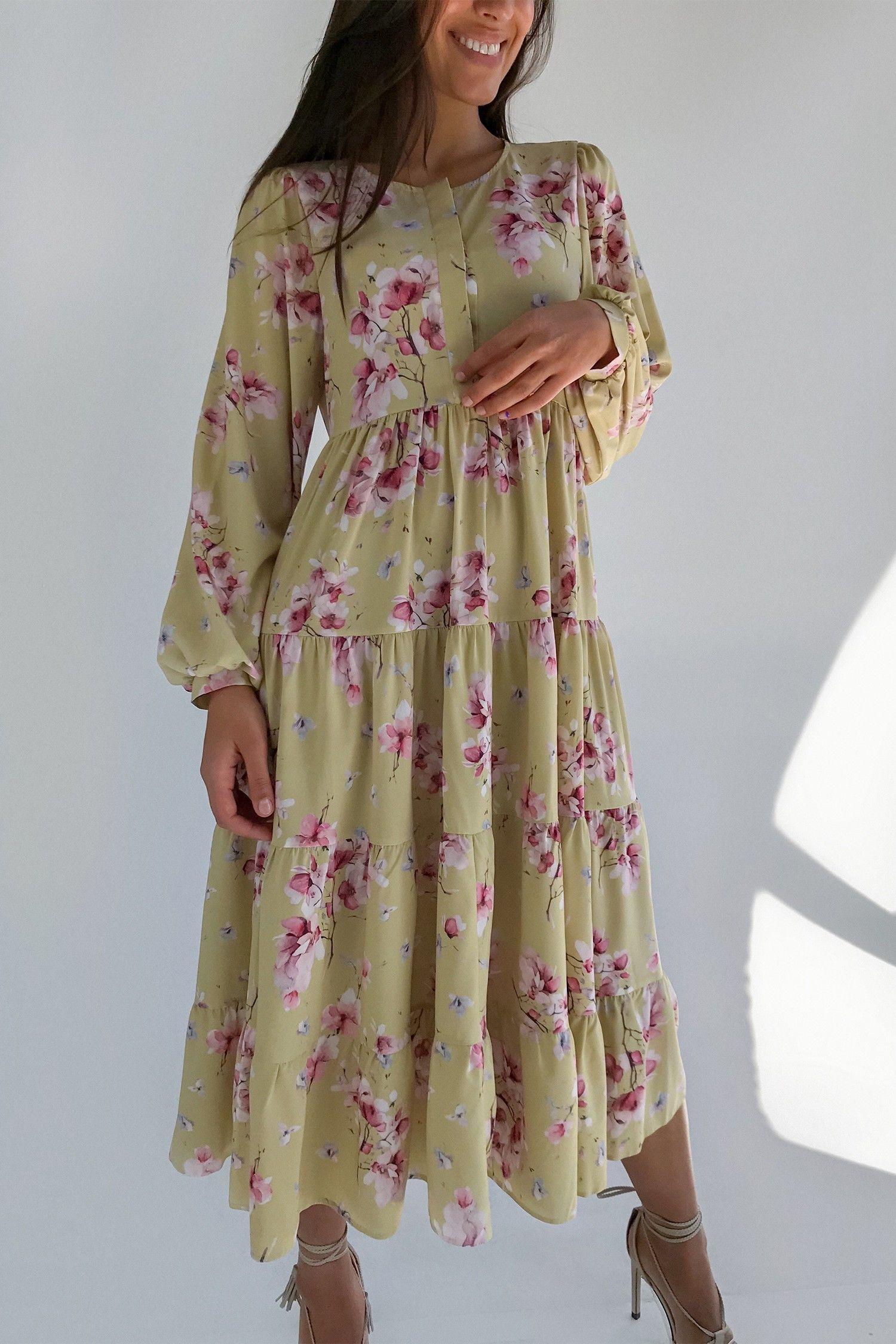 Платье свободного кроя желтое Magic bloom - THE LACE