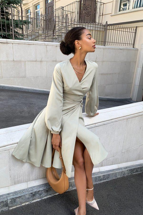 Платье миди на запах оливковое - THE LACE