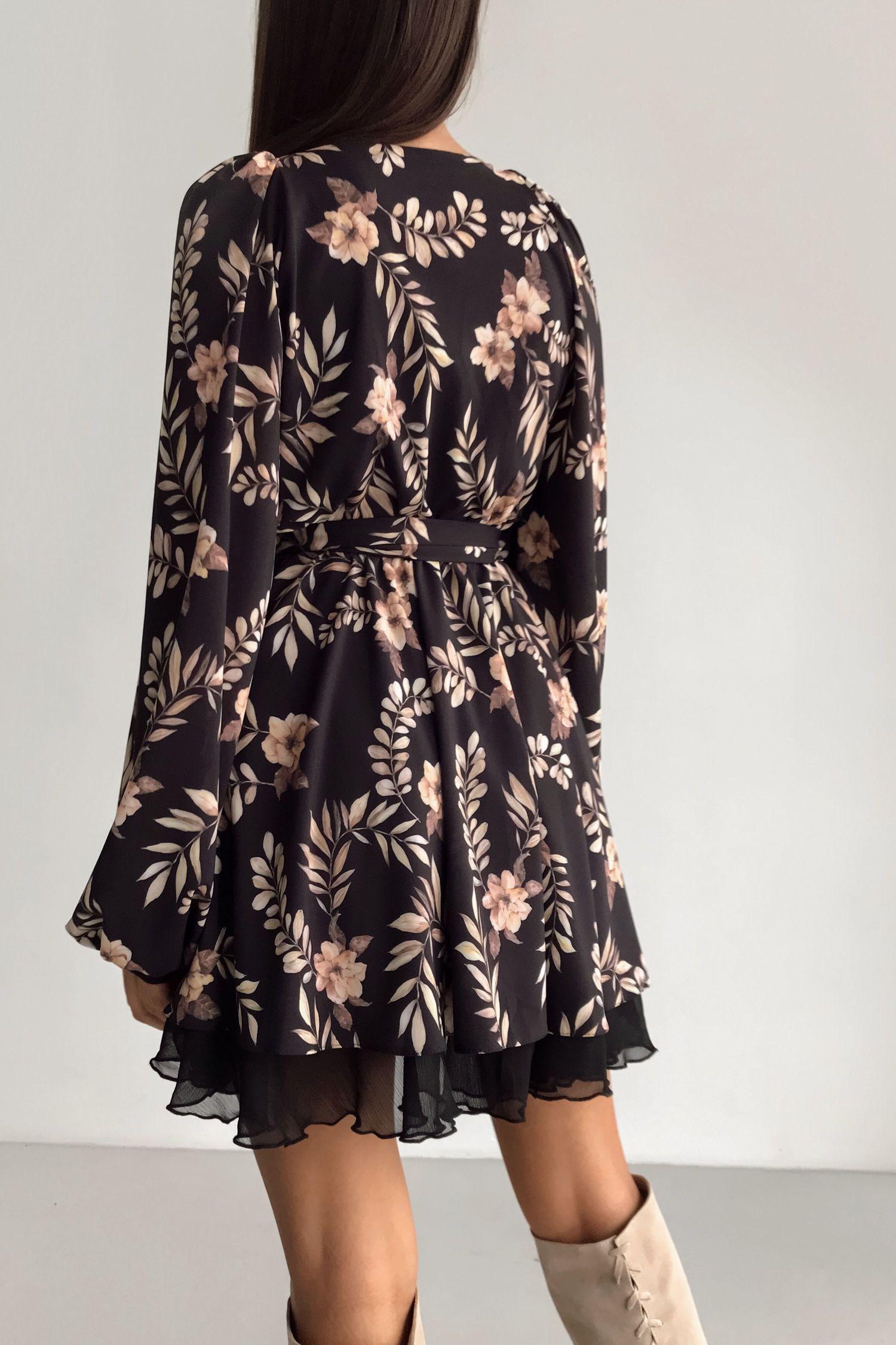 Платье мини черное Golden flowers - THE LACE