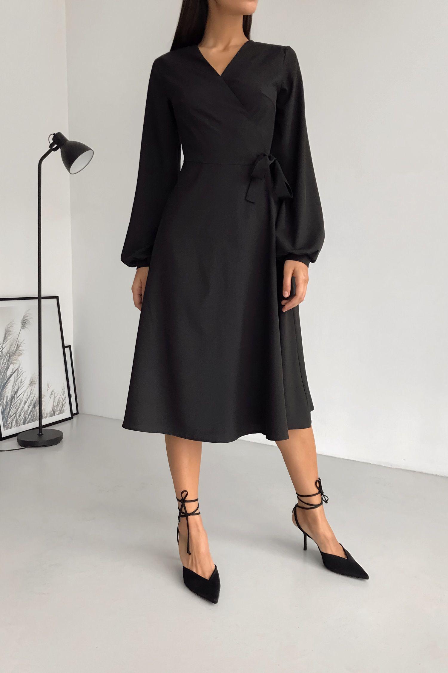 Платье миди на запах черное - THE LACE